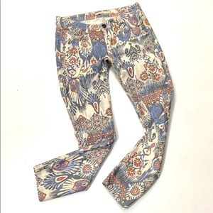 Zara Woman Floral Geometric Print Slim Fit Jeans